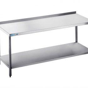 Arbejdsbord med hylde - med bagkant - 600 mm x 1400 mm-0