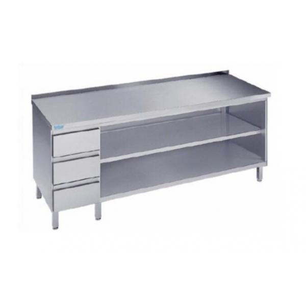 Arbejdsbord med to hylder og tre skuffer - med bagkant - 700 mm x 1000 mm-0