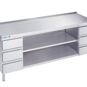 Arbejdsbord med to hylder og seks skuffer - med bagkant - 600 mm x 2000 mm-0