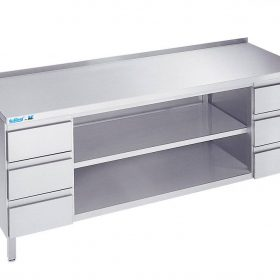 Arbejdsbord med to hylder og seks skuffer - med bagkant - 700 mm x 1400 mm-0