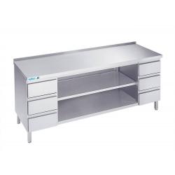 Arbejdsbord med to hylder og seks skuffer - med bagkant - 700 mm x 1800 mm-0