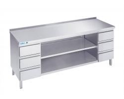 Arbejdsbord med to hylder og seks skuffer - med bagkant - 700 mm x 2000 mm-0